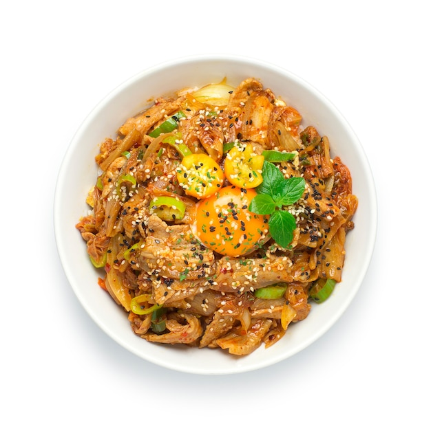 Kimchi stir fried with pork on rice korean food