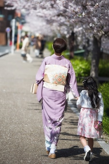 Kimono mother and daughter enjoy sakura