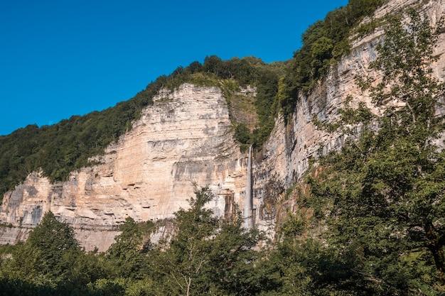 Kinchkha waterfall near okatse canyon, imereti, georgia.