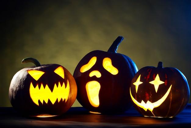 Kind halloween pumpkin on a black background