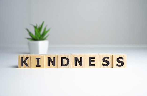 Kindness word from wooden blocks with letters