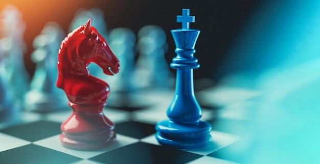 Король шахмат и красный конь. 3d визуализации и иллюстрации.