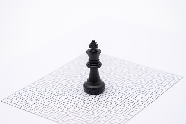 A king chess is placed on the center of the maze. business idea concepts