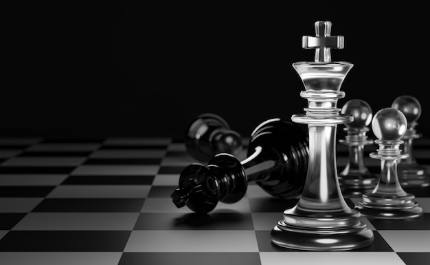 King of clear white chess has made checkmate king of black chess. concept of the strategic for victory. 3d render.