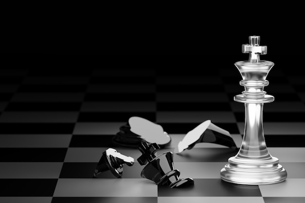 King of clear white chess has made checkmate king of black chess in dark black background. 3d render.