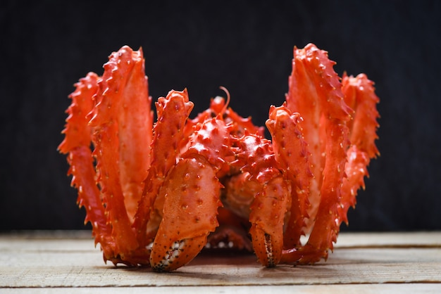 King crab cooked steamer seafood with dark , red alaskan crab hokkaido