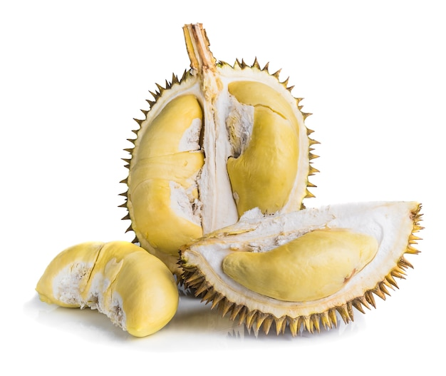 King of fruits, durian isolated on white background,