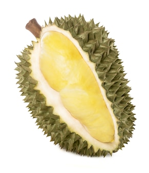 King of fruits, durian on white background.