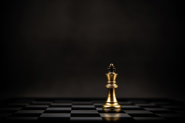 King golden chess standing on chess board