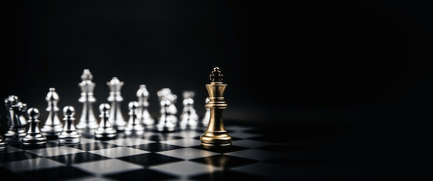King golden chess standing confront of the silver chess team