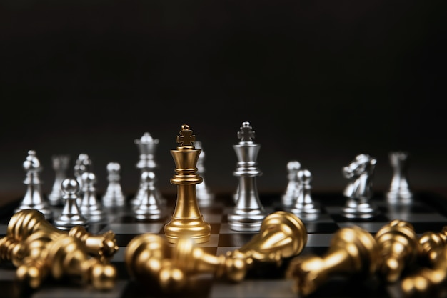 King golden chess that came out of the line on chess board