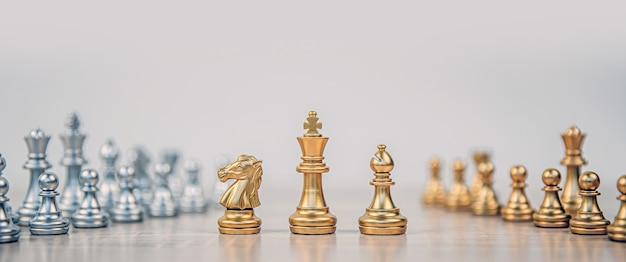 King and knight and rook chess standing.