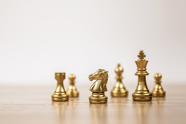 King and knight and rook chess standing
