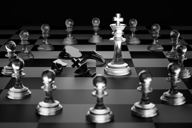 透明な白いチェスの王は、チェックメイトを黒いチェスの王にしました。競争における勝利のための戦略的計画の概念。 3dレンダリング。