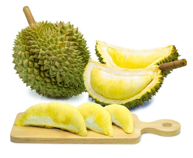 果物の王様、白で隔離されるドリアン、黄金の枕、またはモントンドリアン。
