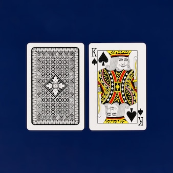 King playing cards full deck on plain background for casino poker top view