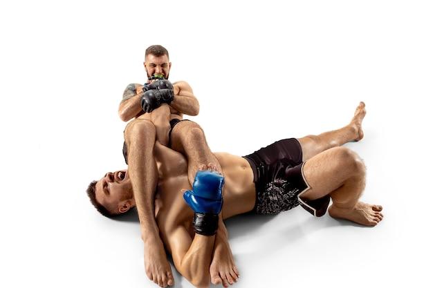 勝つ前にキングのヒット。白いスタジオの背景に孤立してポーズをとる2人のプロの戦闘機。健康な筋肉質の白人アスリートまたはボクサーのカップルが戦っています。スポーツ、競争、人間の感情の概念。