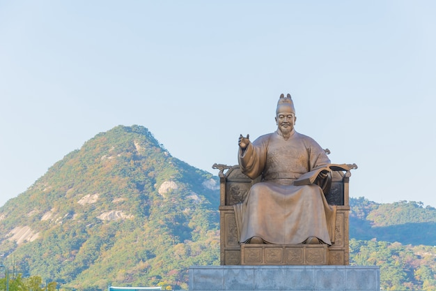 King sejong statue in seoul city korea