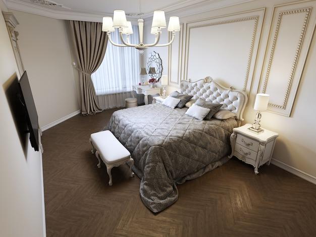 큰 창문이 있는 밝은 침실에 있는 킹 사이즈 침대입니다. 3d 렌더링