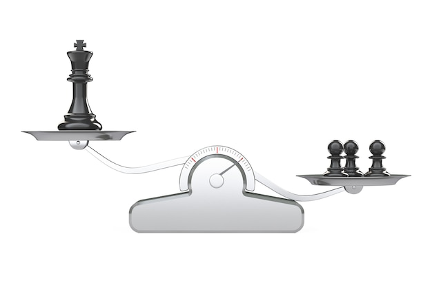 King and three chess peons over balance scale on a white background. 3d rendering