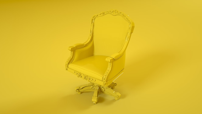 King throne armchair isolated on yellow background. 3d illustration.