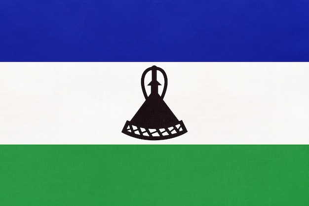 王国レソト国立生地旗繊維の背景。世界のアフリカの国の象徴。