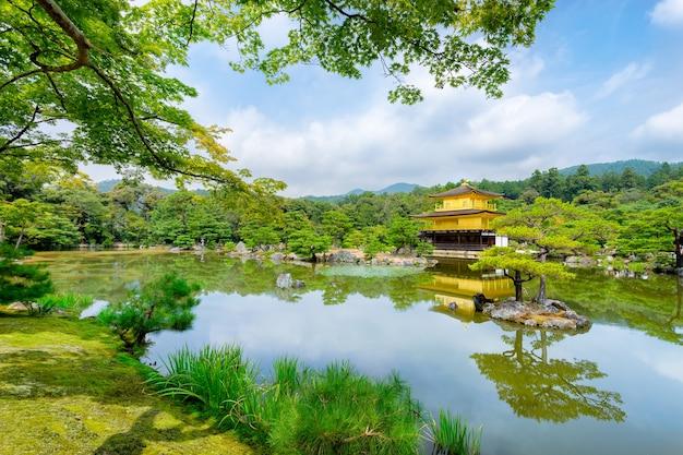 Kinkakuji golden pagoda in a buddish temple from kyoto