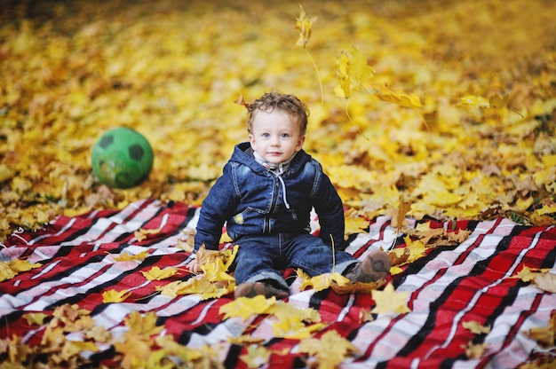 Kinky baby with blue eyes sitting on a background of autumn leaves