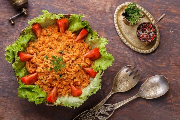 Kisir, traditional turkishr salad, bulgur