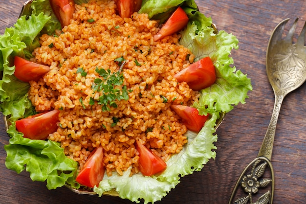 Kisir, traditional turkishr salad, bulgur