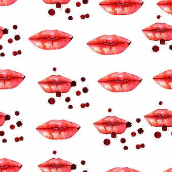 Kiss lips seamless pattern
