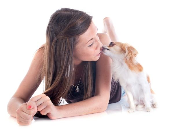 Kissing chihuahua