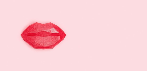 Kissing woman lips red colored on light pink