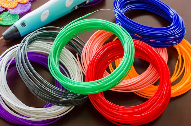 Kit colored abs plastic in coils for 3d pen and printer