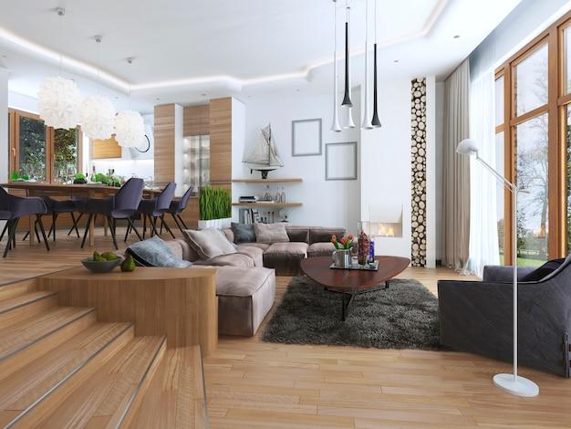 주방 및 식사 공간 및 거실