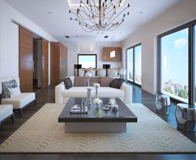 고급 가구를 갖춘 주방 및 거실 아파트입니다.