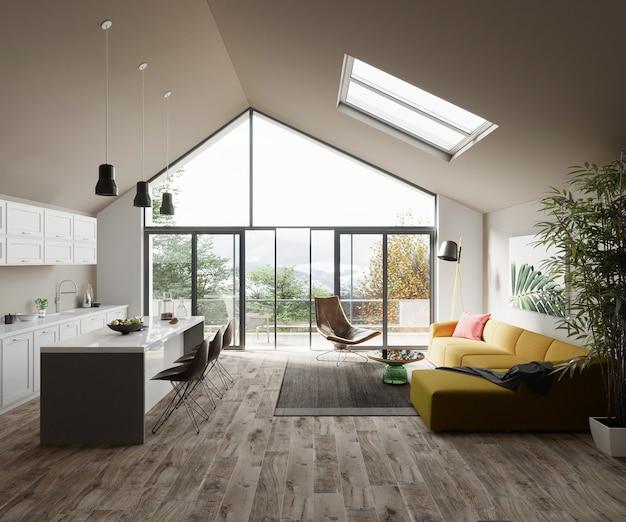 현대 집 디자인의 부엌과 거실 가구 3d 렌더링