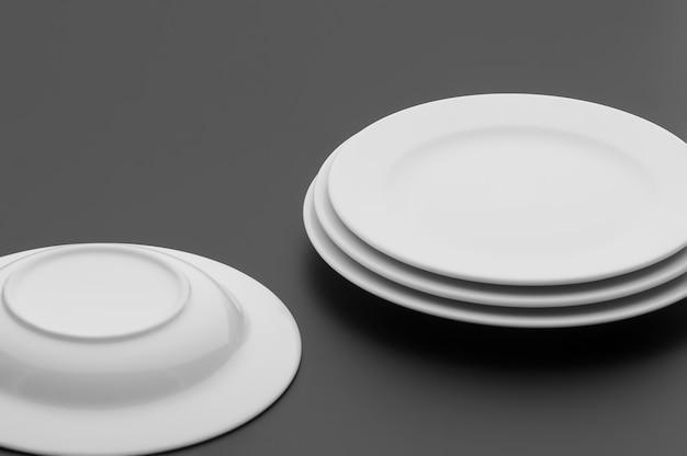 暗い背景にキッチンやレストランの道具、皿、