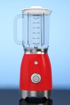 주방 기기 개념입니다. 파란색 배경에 현대 전기 믹서입니다. 3d 렌더링.