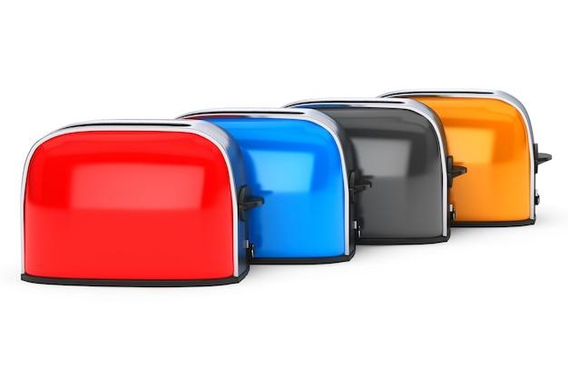 주방가전. 흰색 배경에 여러 가지 빛깔의 빈티지 토스터의 행