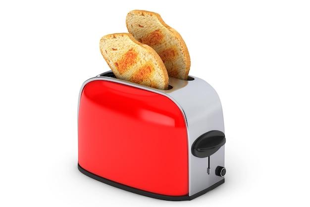 주방가전. 흰색 배경에 빈티지 레드 토스터에서 토스트가 튀어나옵니다.