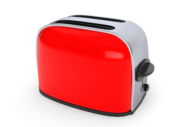 주방가전. 흰색 바탕에 빈티지 레드 토스터
