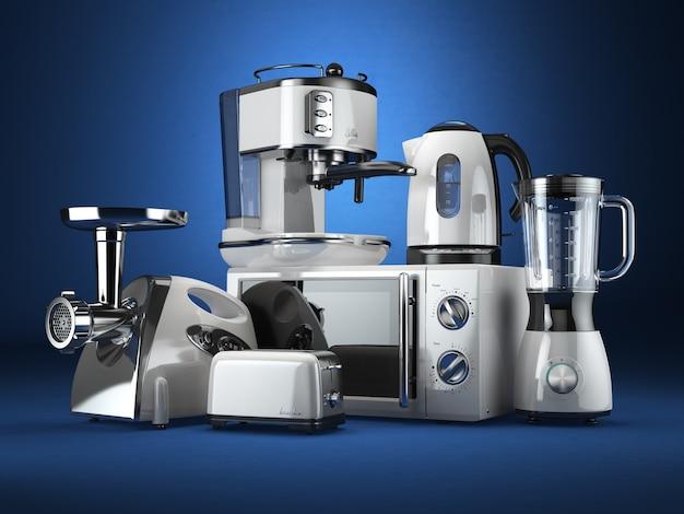 キッチン家電。ブレンダー、トースター、コーヒーメーカー、ミートジンダー、電子レンジ、ケトル。 3d