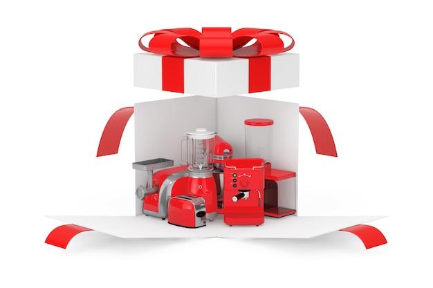 キッチン家電ギフト。赤いブレンダー、トースター、コーヒーマシン、ミートジンダー、フードミキサー、コーヒーグラインダー、白い背景に赤いリボンと弓が付いたオープンサプライズホワイトギフトボックス。 3dレンダリング
