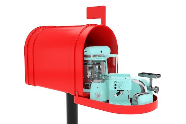 白い背景の上の赤いメールボックスに設定されたキッチン家電。 3dレンダリング