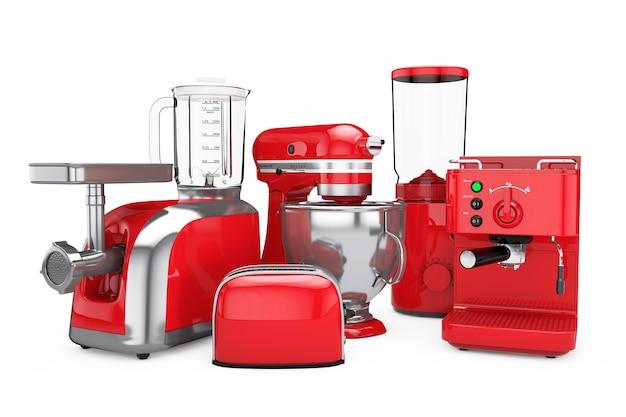 キッチン家電セット。白い背景の上の赤いブレンダー、トースター、コーヒーマシン、ミートジンダー、フードミキサー、コーヒーグラインダー。 3dレンダリング