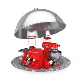 キッチン家電セット。レッドブレンダー、トースター、コーヒーマシン、ミートジンダー、フードミキサー、コーヒーグラインダー、白地にシルバーレストランクローシュ。 3dレンダリング