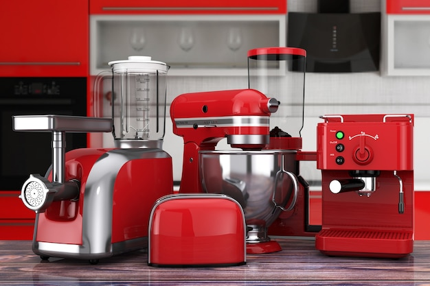 Kitchen appliances set. red blender, toaster, coffee machine, meat ginder, food mixer and coffee grinder on a wooden table. 3d rendering