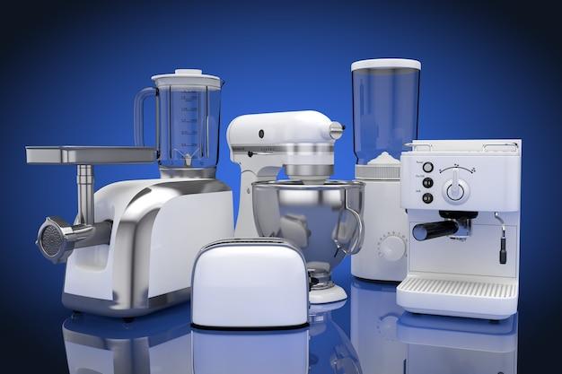 キッチン家電セット。青い背景に白いブレンダー、トースター、コーヒーマシン、ミートジンダー、フードミキサー、コーヒーグラインダー。 3dレンダリング