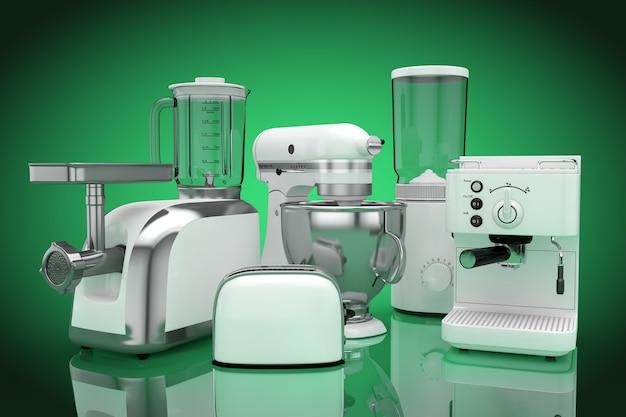 キッチン家電セット。緑の背景に白いブレンダー、トースター、コーヒーマシン、ミートジンダー、フードミキサー、コーヒーグラインダー。 3dレンダリング